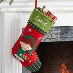 Girl Elf Personalized Christmas Stocking