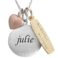 My Mother Sterling Silver Name and Tricolor Charm Necklace