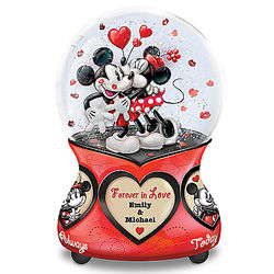 Personalized Mickey & Minnie Mouse Forever in Love Glitter Globe