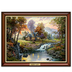 Thomas Kinkade Mountain Retreat Illuminated Canvas Print