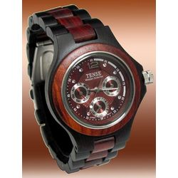 Men's Multi-Dial Dark Face Sandalwood Watch