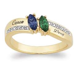 Couple's Marquise Birthstone Name Ring With Diamond Accents