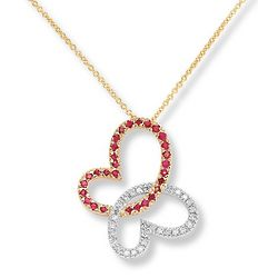 14k Two Tone Gold Butterfly Necklace with Diamond and Ruby Hearts