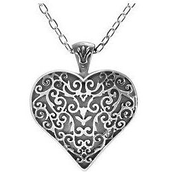 Titanium Filigree Heart Necklace
