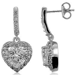Sterling Silver Heart Shaped Cubic Zirconia Dangle Earrings