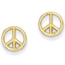 14K Gold Peace Sign Stud Earrings
