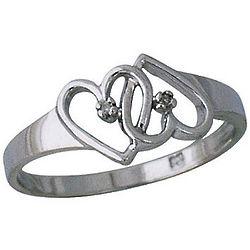 10K White Gold Dual Heart Diamond Ring