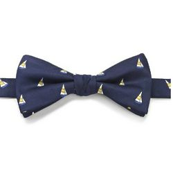 Sailboat Motif Woven Silk Pre-tied Bow Tie