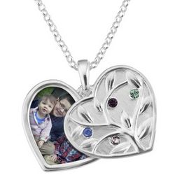 Sterling Silver Four Birthstone Swing Heart Picture Pendant