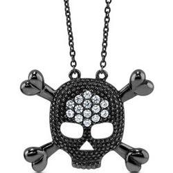 Black Rhodium Plated Skull and Crossbones Pendant