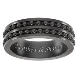 Black Stainless Steel Engraved Ball Bead Spinner Band