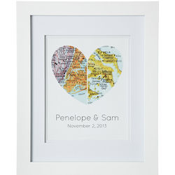 Personalized Map of Our Hearts Framed Art Print