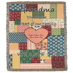 Personalized Grandma Heart Tapestry Throw