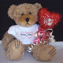 Personalized Valentine Hearts Tee Teddy Bear