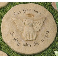 Go Play with the Angels Dog Remembrance Stepping Stone