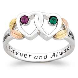 Tri-Color Sterling Silver Couple's Birthstone & Name Ring