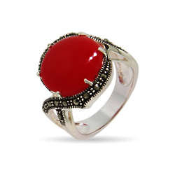 Fire Red Round Cabochon Marcasite Ring