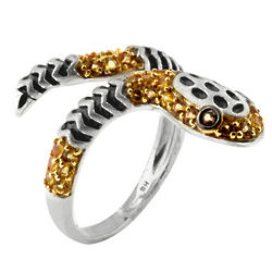 Sterling Silver Yellow Sapphire Snake Ring