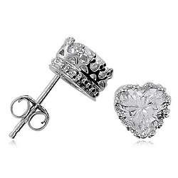 Cubic Zirconia Sterling Silver Small Heart Stud Earrings