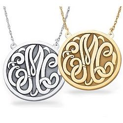 14K Gold Large Letter Monogram Necklace