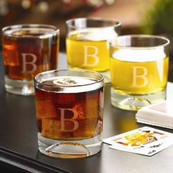 Personalized Football Lowball Glass Pub Set