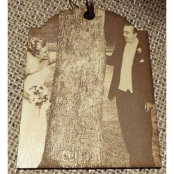 Engraved Wood Photo Tag for Family Tree