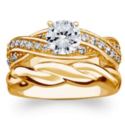 18K Gold Over Sterling Round Cubic Zirconia Wedding Ring Set