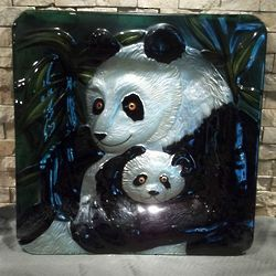 Panda Art Glass Platter