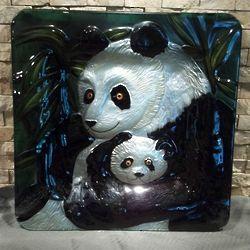 Panda Art Glass Platter