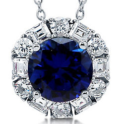 Round Cut Sapphire CZ Sterling Silver Solitaire Pendant Necklace