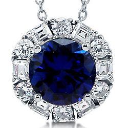 Round Cut Sapphire CZ Sterling Silver Solitaire Pendant Necklace