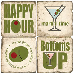 Happy Hour Marble Coasters