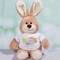 Happy Bunny Stuffed Animal with Personalized Easter Eggs T-Shirt