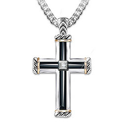 God Is My Strength Men's Diamond Cross Pendant