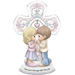 Precious Moments Couple with Cross Porcelain Figurine