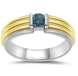 Men's .26 Ct Blue Diamond Two Tone Ring