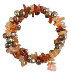 Golden Solstice Pearl and Carnelian Bracelet