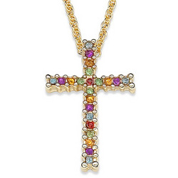 Austrian Crystal Rainbow Cross Pendant