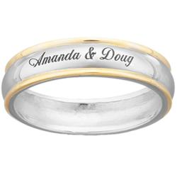 Sterling Silver Top-Engraved Name/Message Two-Tone Wedding Band