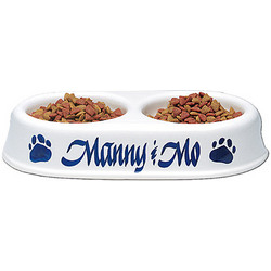 Personalized Paw Print Twin Feeder