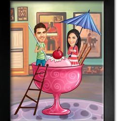 Love Is a Sweet Treat Caricature Premium Luster Print