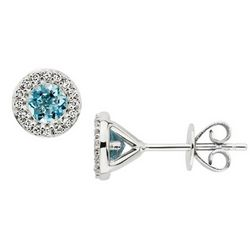 Aquamarine and Diamond 14k White Gold Earrings