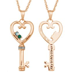 Couples Name & Birthstone Heart Key Pendant wth Diamond Accent