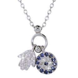Sterling Silver CZ Hamsa and Evil Eye Charm Pendant Necklace