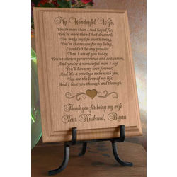 Personalized My Wonderful Wife Wooden Plaque