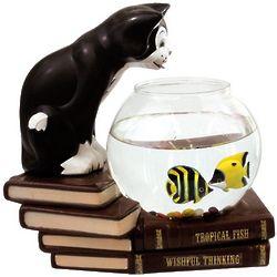 Wishful Thinking Cat With Fish Bowl