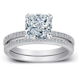Cubic Zirconia Sterling Silver Cushion-Cut Wedding Ring Set