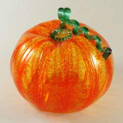 Large Orange Glass Pumpkin