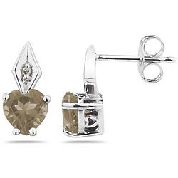 White Gold Heart Shape Smokey Quartz and Diamond Earrings