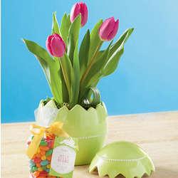 Easter Tulips in Easter Egg Pot